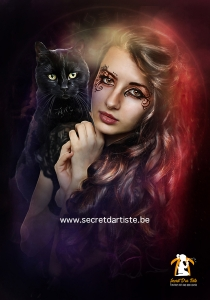 Dark witch with cat