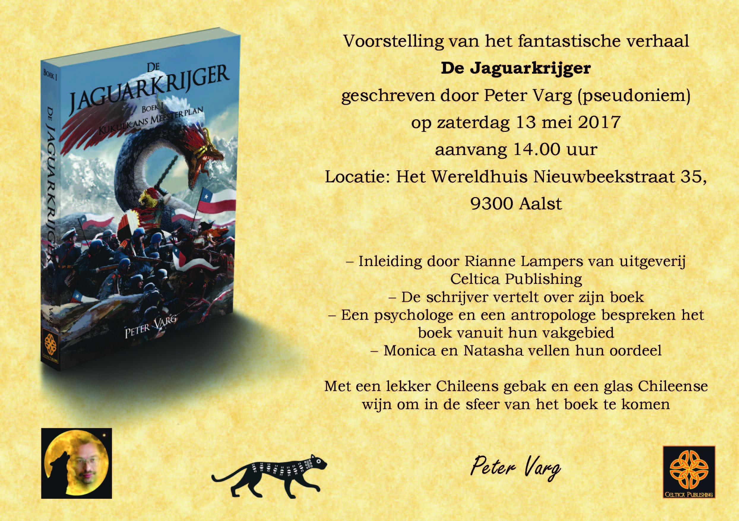 """Uitnodiging boekpresentatie """"De Jaguarkrijger"""""""